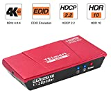TESmart HDMI Splitter 1 In 2 Out Support 4K 60Hz HDR 10 HDCP 2.2 Smart EDID for PS4 Xbox Sky Box Fire Stick, DVD Player HDTV Projector-Coral Red