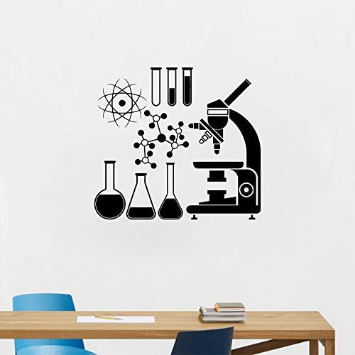 HFWYF Mikroskop Wissenschaft Wissenschaftler Chemie Vinyl Wandaufkleber Schule labor Wandkunst Wandtattoo Decor 52 cm x 45 cm