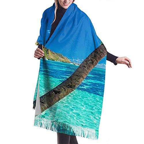 Bufanda Fringe Chal Mujer Palmeras en una playa tropical con un mar azul en la isla de Moorea Tahití Bufanda de invierno de Cálido Grueso Otoño Invierno
