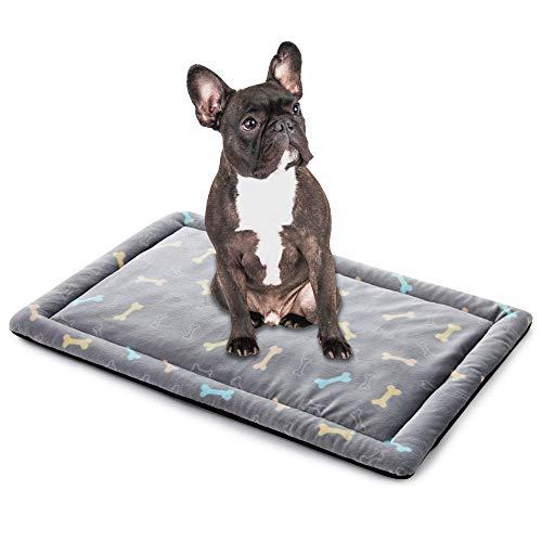 ALLISANDRO Hundematte Hundedecke Waschbar Strapazierfähige 100 * 70cm Hygienisch und rutschfest Eckig Bones Weiche Hundebette mit kuscheligem Plüsch für Hunde & Katzen Grau
