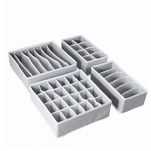 1pc Armario De La Ropa Interior Organizador, Caja De Almacenaje Plegable Del Cajón Divisor Kit Juego De 4 (gris)