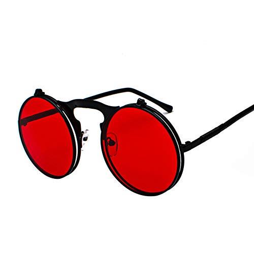 CHAN Weinlese-Mann-Sonnenbrille, Frauen Retro Steampunk Flip Up-Runde Sonnenbrille, Metallrahmen Bunte Objektiv Qualitäts-UV400 Brillen,J1