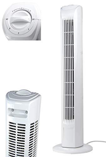 Ecoix Ventilator 78cm Weiss | Leise Turmventilator 57dbA max | Säulenventilatormit 3 Geschwindigkeitsstufen