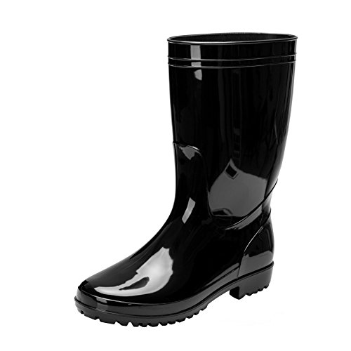 Comwarm Men's Mid-Calf Rain Boots Waterproof Anti-Slip Black PVC Adult Outdoor Work Rubber Boots BK46