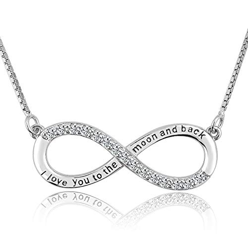 Sug Jasmin 925 Sterling Silver I Love You to The Moon and Back Infinity Necklace for Women Girls Gift (Crystal)