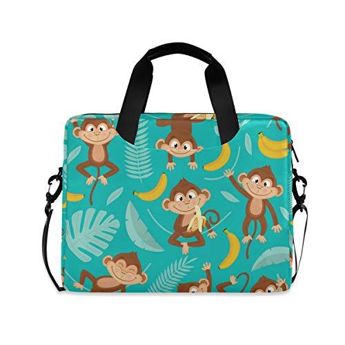 iRoad 15.6 InchLaptop Bag Case Cartoon Monkey Banana Leaf Computer Case Laptop Sleeve Case with Shoulder Strap Bag for Women Men