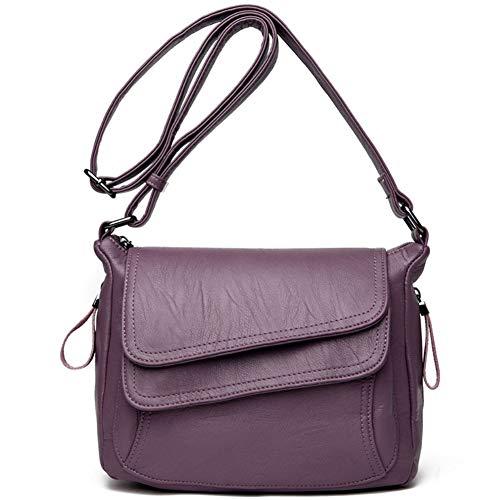 AchidistviQ Moda Color sólido suave cuero sintético de las mujeres casual bolsa cruzada de compras violeta