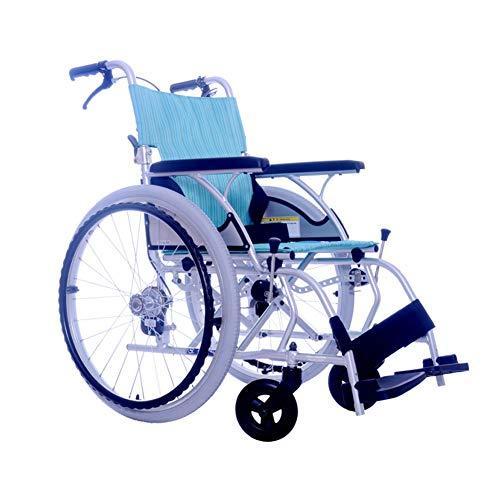 LXYSB Silla de Ruedas de enfermería Ligera, Marco de Aluminio Plegable Adecuado para Personas Mayores con discapacidad de Las extremidades Inferiores Hemiplejia e inconveniencia,Azul