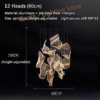 YINGGEXU ダイニングリビングルーム二重回転階段のための導光ガイドシャンデリア照明ポストモダンクリエイティブLED調節可能な吊りランプ 装飾 照明器具 (Emitting Color : Warm Light, Lampshade Color : 12 Heads Round)
