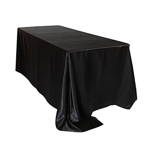BLUELSS 5PCS FR Nappe rectangulaire Table Stock Satin Tissu Waterproof housse en banquet de mariage Décoration maison Noir Blanc,Black,228 x 335cm,Chine