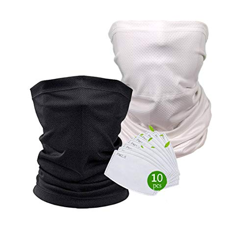 X-CHENG Scarf Bandanas Mask - Multi-Purpose Bandana Mask Neck Gaiter with Safety Carbon Filters for Men Women Sports&Outdoors (Black+White)
