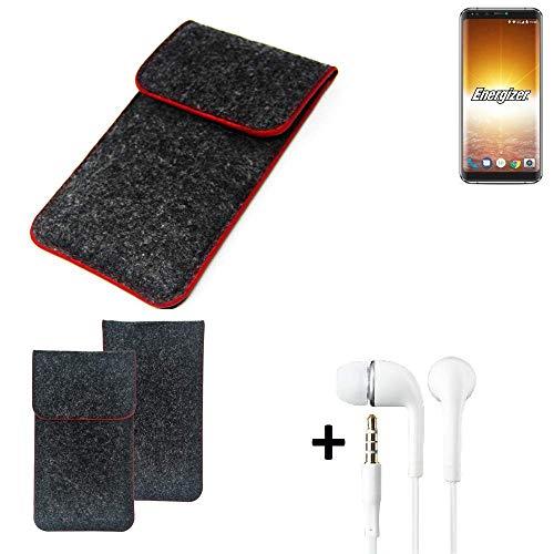 K-S-Trade® Handy Schutz Hülle Für Energizer P600S Schutzhülle Handyhülle Filztasche Pouch Tasche Case Sleeve Filzhülle Dunkelgrau Roter Rand + Kopfhörer