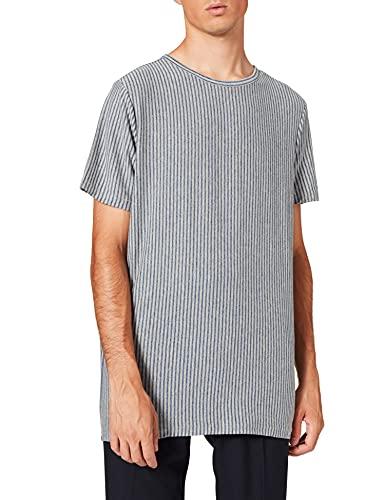 FIND Camiseta de Rayas Hombre, Azul (Blue), XX-Large