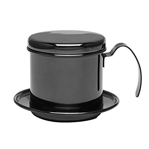 Cafetera vietnamita con filtro, pequeña cafetera de prensa francesa de acero inoxidable, cafetera de goteo para café de oficina(Negro)