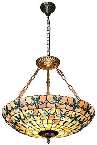 Chandelier de cristal de estilo tiffany, lámparas colgantes de diseño de flores lilas de 20 pulgadas, luces de techo decorativas de la sala de estudio del dormitorio europeo, E27 * 5