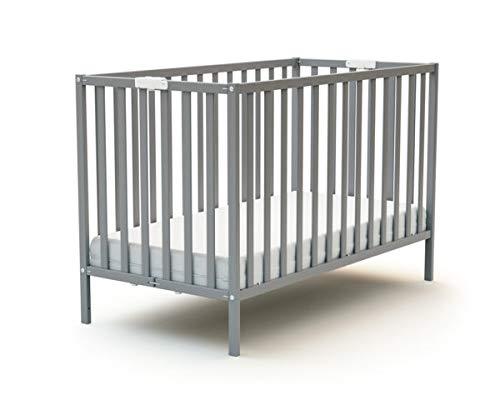 Lit bébé pliant en bois laqué gris Baby Fox 60 x 120 cm
