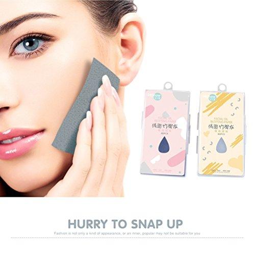 Frcolor Paquet de 2 Papier Huot Visage Naturel Bambou Huile Blotting Tissu Maquillage Visage pour Homme Femme