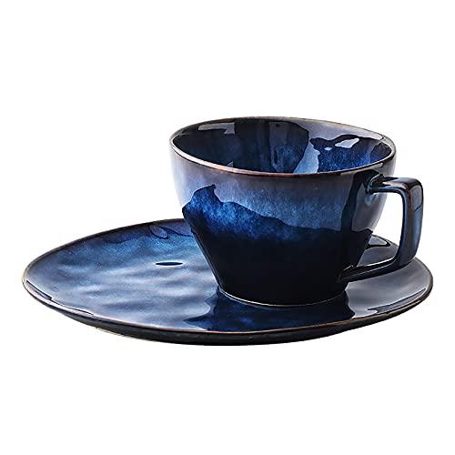 Krrinnhy Tazas de café con platillo, Tazas de café de Porcelana para té, café y Capuchino, 240 ml, para Mujer, Hombre, cumpleaños, día de San Valentín, día de la Madre, día del Padre (Azul)
