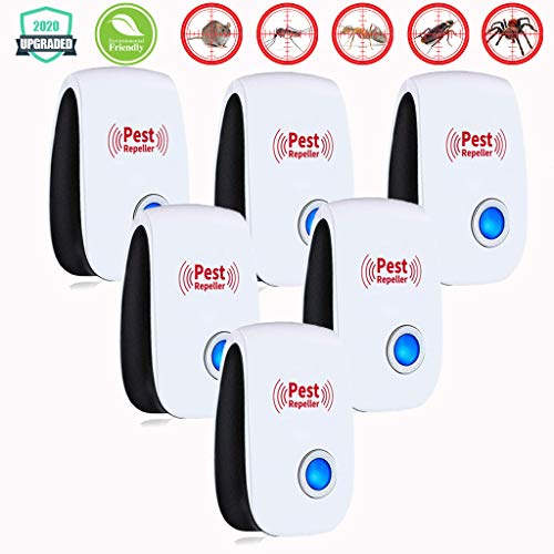 Ultrasonic Pest Repeller 6 Pcs/Set Pest Control Ultrasonic Repellent Non-Toxic Electronic Repellant - Bug Repellent for Ant, Mosquito, Mice, Spider, Roach, Rat, Flea, Fly. Human and Pets Safe