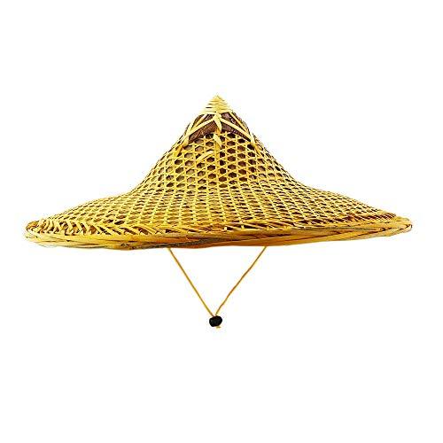 Asian Traditional Farmer Bamboo Hat Braid Straw Cap Yellow