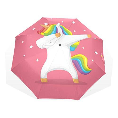 ISAOA Paraguas de Viaje automático, Paraguas Plegable Rosa Unicornio Resistente al Viento, Ultra Ligero, protección UV, asa compacta para fácil Transporte para Mujeres y Hombres