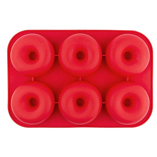 Silikonform, Donuts, Form: 28cm x 19cm, 3cm hoch, für 6 Donuts: je Ø 8cm