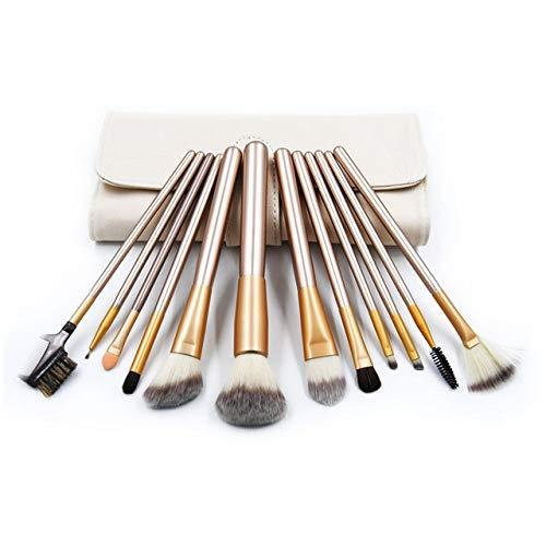 PoplarSun 12pcs Maquillage Professionnel Pinceaux Pinceau à usages Multiples cosmétiques Blending Kits Contour + étui en Cuir