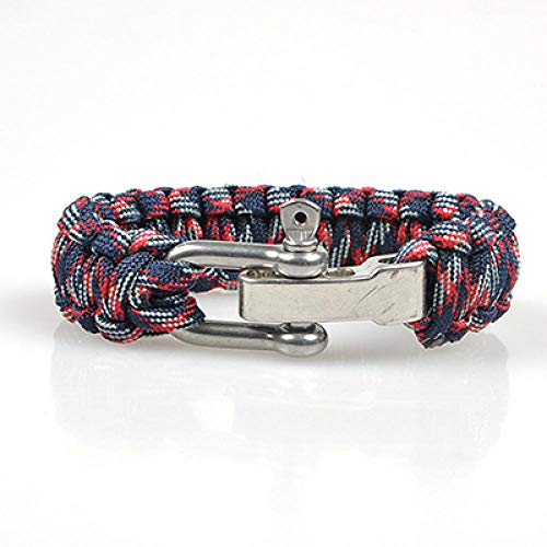 LLXXYY Geflochtenes Armband, Vintage, geflochtenes Seil, handgefertigt, für Outdoor-Aktivitäten, Camping, Rettungsschirm, Notfallarmbänder, Rot für Herren, Woen Kinder, Charm-Schmuck Geschenk