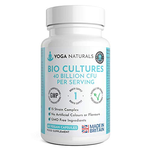 Vegan Bio Cultures Complex - 40 Billion CFU Vegan Capsules with 15 Bacteria Strains per Serving - Max Strength & Potency Capsules - Made in The UK