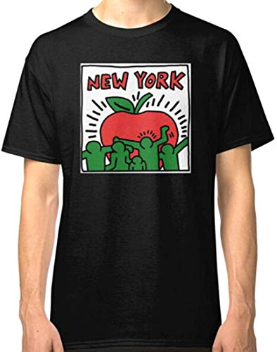 CQZJFRE Men's Keith Haring New York Unisex T Shirt,Black,Medium