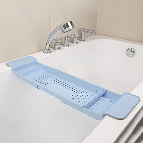 Youlin Badewannenablage, Kunststoff, multifunktional, ausziehbar, Halterung für die Badewanne blau