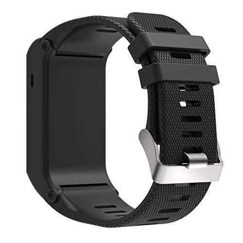 KINOEHOO Correas para relojes Compatible con Garmin Vivoactive HR Pulseras de repuesto.Correas para relojesde siliCompatible cona.(Negro)