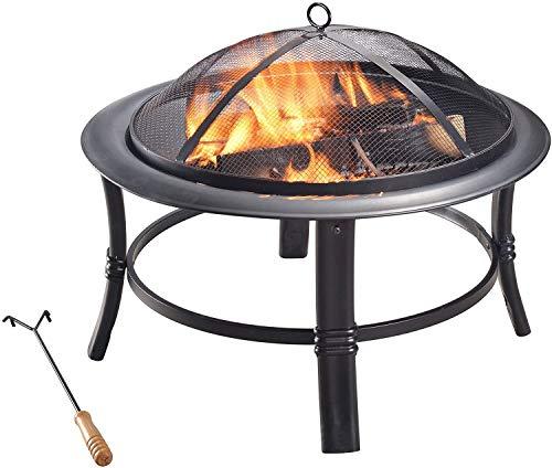Round Fire Pit, Outdoor 26-Inch Round Steel Wood Burning Fire Pit, Black, for Garden Patio, Outdoor Metal Brazier Firepit Heater. 66.04 x 66.04 x 42.01 cm