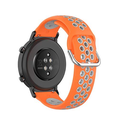 KOMI Correa de silicona para reloj de 20 mm, 22 mm, para mujeres y hombres de fitness, accesorios para reloj inteligente (20 mm, naranja/gris)