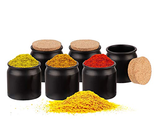 BigDean 6er Set Gewürzdosen mit Korken-Deckel 150 ml rund - Gewürzgläser aus Keramik - Vorratsdosen ideal als Aufbewahrung für Gewürze, Kräuter & Tee