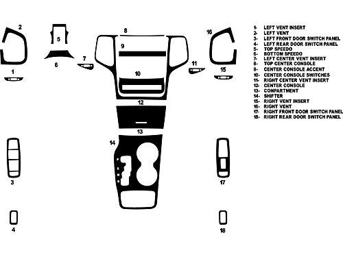 Rvinyl Rdash Dash Kit Decal Trim for Jeep Grand Cherokee 2011-2013 - Carbon Fiber 4D (Black) Carbon Fiber Interior Trim Applique