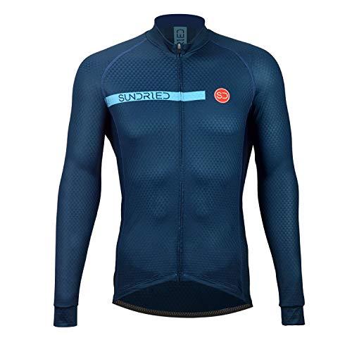 SUNDRIED Pro Ciclo Rango Jersey Manga Larga para Hombre Ciclismo Profesional Ropa Optimizado para Bicicleta de Carretera Bicicleta de montaña (Azul, L)