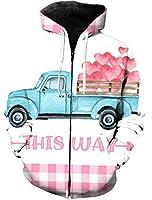 パーカー バレンタイン ピンク 格子 青い 車 長袖 フード付き 無地 カジュアル 秋服 トップス 3Dプリント レディース メンズ 暖かい ストリートポケット付き 男女兼用 XL