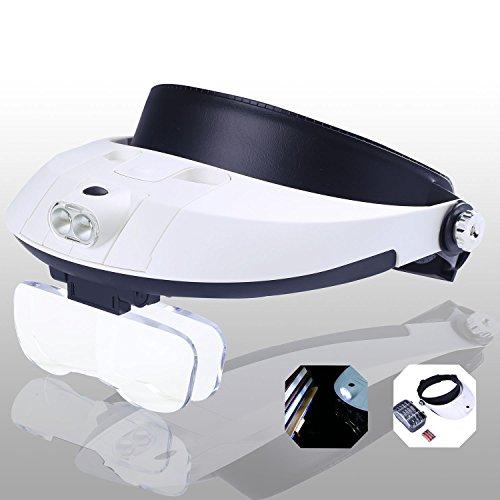 YOCTOSUN - Gafas manos libres con lente de aumento, banda para la cabeza y luz LED. Aumento de 1X a 3,5X con 6 lentes desmontables. Para leer, joyería, reparación de relojes, etc.