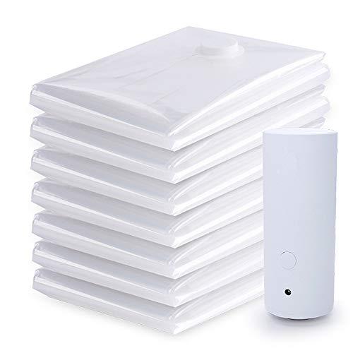 Gepäck-Organisator-Beutel Transparente Packung mit 8 Stück wiederverwendbare Vakuum-Aufbewahrungsbeutel platzsparend mit mit Zip-Dichtung Leckventil hochwertige elektrische Pumpe Reisegepäck Gepäck Ve