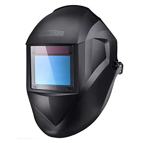 TACKLIFE Welding Helmet, Top Optical Clarity (1/1/1/1), Wide Shade Range DIN 3/3-8/9-13, Large Viewing Area(3.94'x2.87'), Solar Power Auto Darkening, 4 Arc Sensor for TIG MIG MMA Plasma - PAH03D