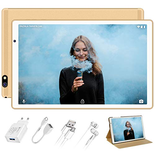 Tablet 10 Pulgadas FACETEL Q3 Android 9.0 4GB RAM+64GB ROM,Tablet PC 5.0+8.0 MP HD la Cámara ,Certificación Google gsm,1280*800 Full HD Display,Bluetooth,WiFi,GPS,FM-Oro