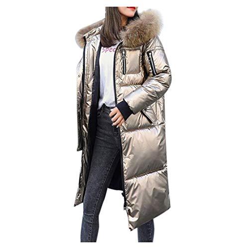 GreatestPAK Glänzend Kapuzenjacke Damen Warm Lang Winterjacke Baumwollfutter Einfarbig Langarm Reißverschluss Steppjacke Sweatshirt,Gold,Etiketten:XL(Büste:120cm)