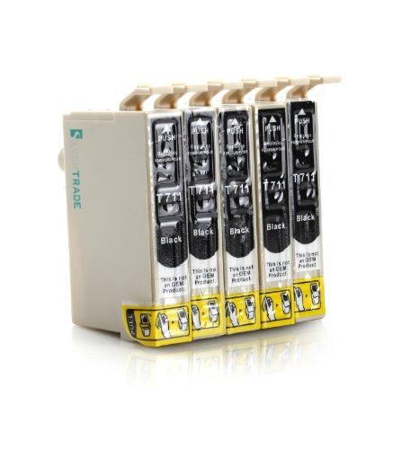 Silvertrade - 5 x kompatible XL Tintenpatronen mit CHIP, kompatibel zu Epson (5x schwarz T0711) für Epson Stylus D120 D120 Network Edition D78 D92 DX4000 DX4050 DX4400 DX5000 DX6000 DX6050 DX7000F DX7400 DX7450 DX8400 DX8450 DX9400F DX9400F Wifi-Edition Office B40W Office BX300F Office BX600FW Office BX610FW S20 S21 SX100 SX105 SX110 SX115 SX200 SX205 SX210 SX215 SX400 SX400 WiFi SX405 SX405 WiFi SX410 SX415 SX425 SX510W SX515W SX600FW SX610FW