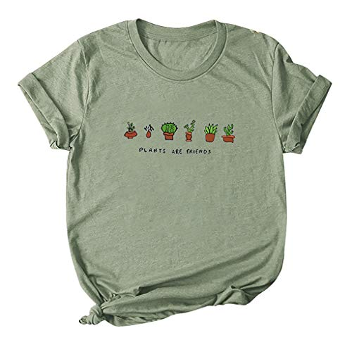 SONIGER ʕ•ᴥ•ʔWomen Simple Plants are Friends Print Short Sleeve O Neck Tee Casual Cropped T-Shirt Tops Pullover Blouse Army Green