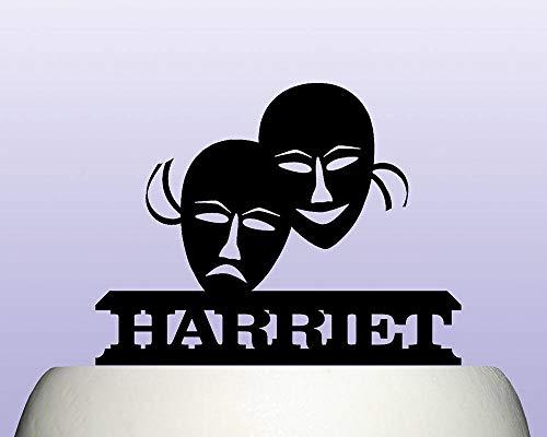 Gepersonaliseerde Acryl Theater Maskers Prestaties Drama Cake Topper Decoratie