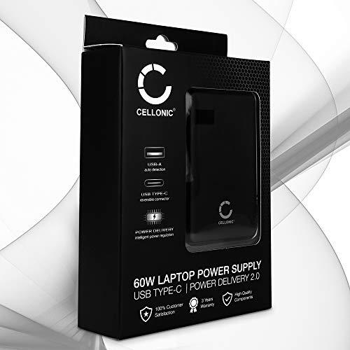 CELLONIC® USB-C Ladegerät 60W Power Delivery Netzteil Ladeadapter kompatibel mit Notebook/Ultrabook, Smartphone, Tablet, 2 Ports 60 Watt Adapter 3A max. 5V-20V 2A USB Typ C, Reiseladegerät, PD
