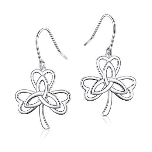 S925 Sterling Silver Good Luck Irish Shamrock Celtic Earrings Celtic Knot Drop Dangle Earrings for Women (03_Celtic Clover Earrings)