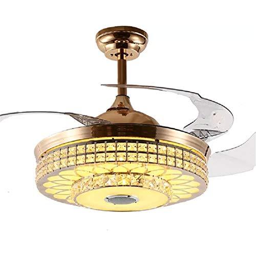 Homeland Ventiladores de Techo de Cristal Bluetooth de Lujo de 42'Interruptor Remoto de 3 Colores Candelabro de Reproductor de música de 3, Ventilador de Motor silencioso y Kits de LED