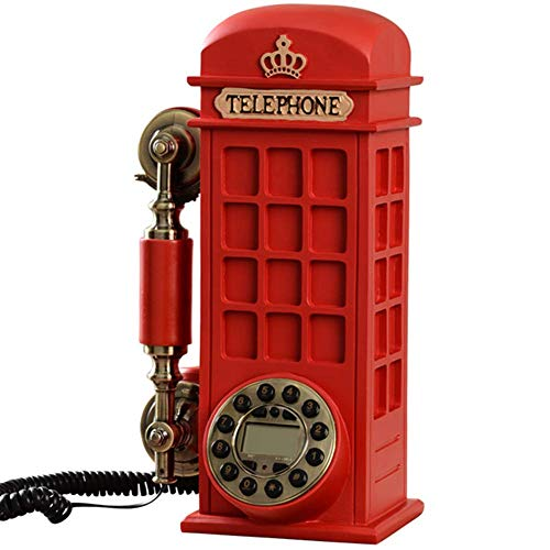 FHISD Vintage Phone Cabina de teléfono Retro Teléfono Fijo, Personalidad Creativa de Moda Hogar Teléfono Fijo Antiguo, Teléfono con botón pulsador Antiguo montado en la Pared, Rojo